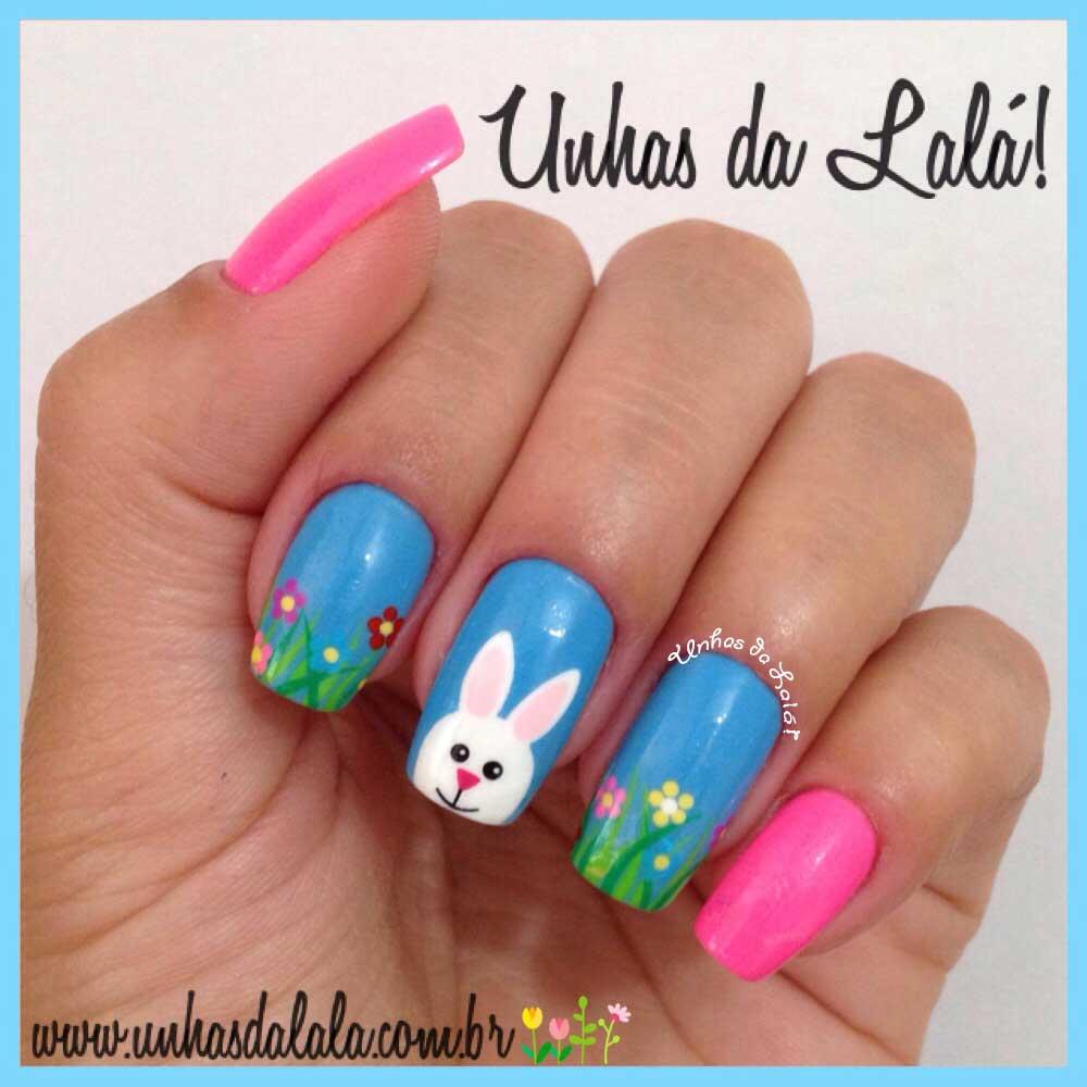 Unhas Decoradas Coelhos + Flores