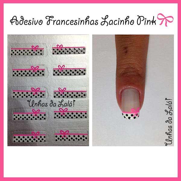 Unhas Decoradas Francesinhas Lacinho Pink