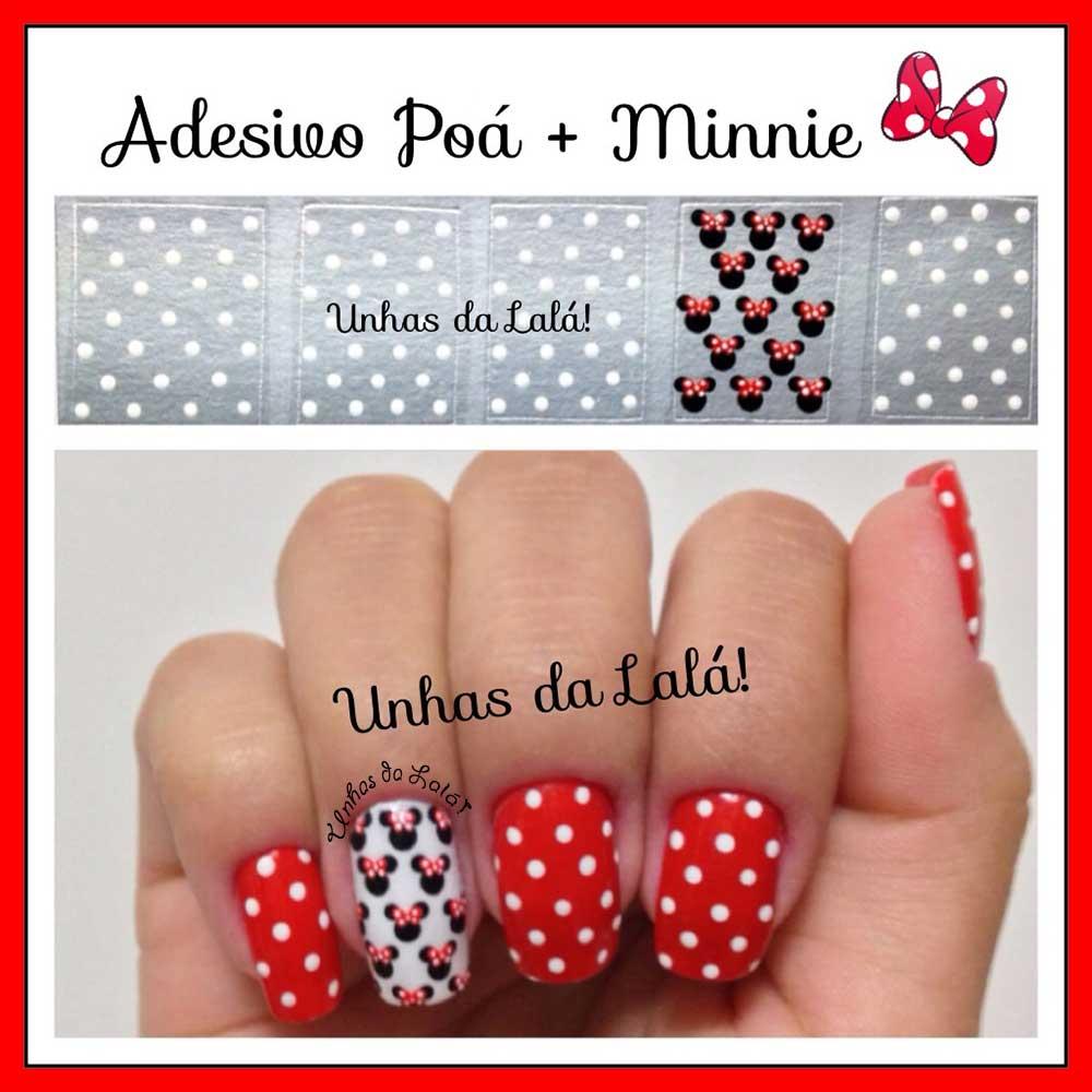 Unhas Decoradas Poá + Minnie