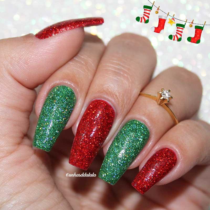 Unhas Decoradas Natal HOLO - Unhas da Lalá