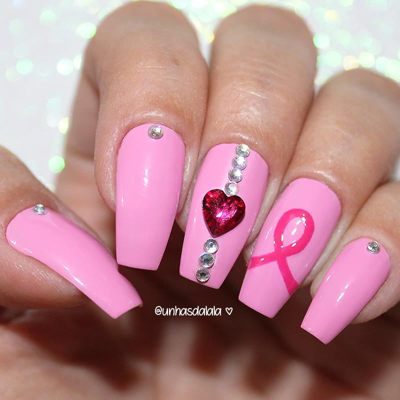 unhas decoradas outubro rosa