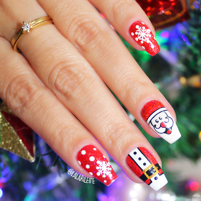 unhas decoradas papi noel, papai noel, unhas decoradas natal, natal, natal 2018, unhas papai noel 2018, unhas papai noel, christmas nails, christmas, papai noel, unhas, nails, larissa leite, unhas da lala, lala, blog unhas da lala, blog