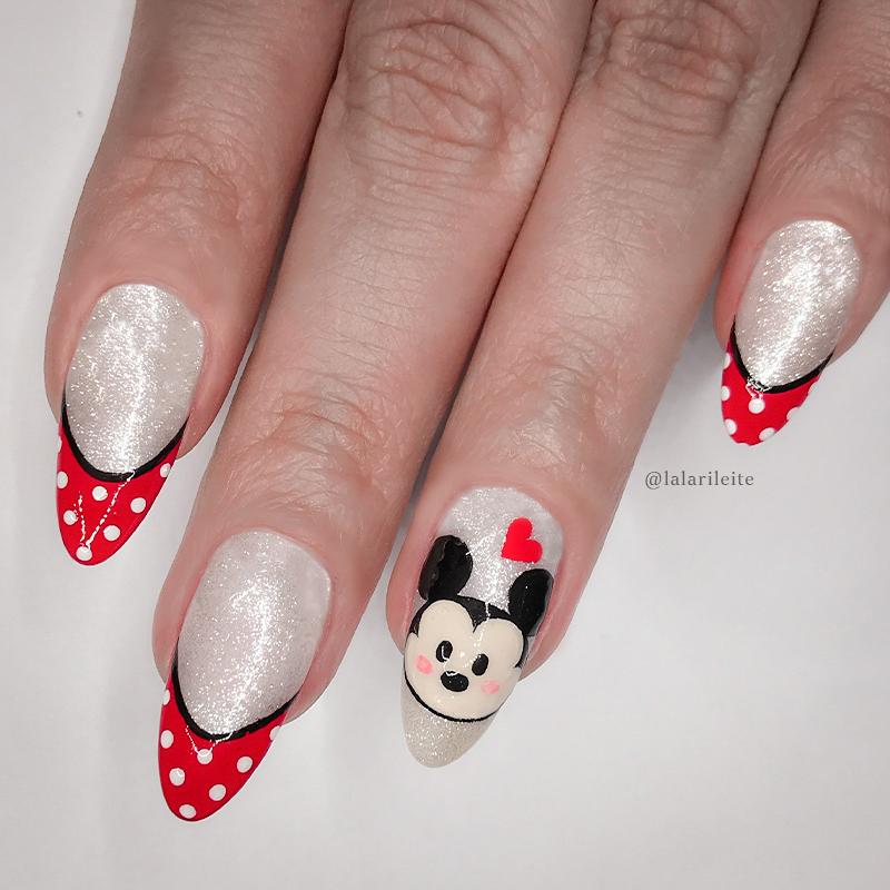 unhas mickey, unhas francesinha, unhas mickey mouse, mickey nails, french nails, mickey mouse nails, larissa leite, larissa leite unhas, unhas da lala